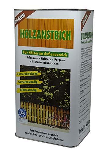 5 Liter Lasur Holzanstrich auf Pflanzenölbasis Holzschutzfarbe Wetterschutzfarbe braun Außen