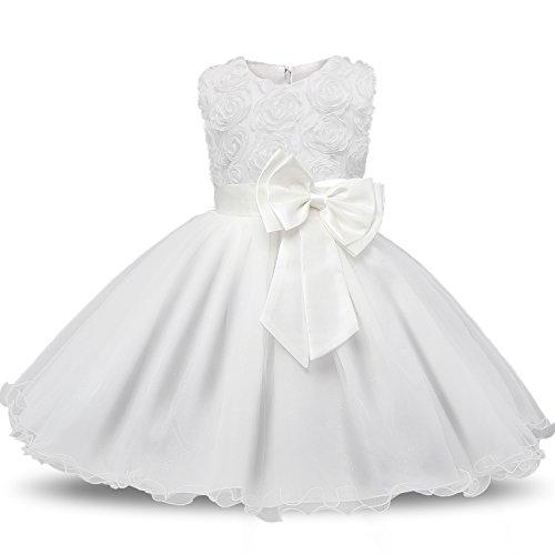 NNJXD Mädchen Ärmellos Spitze 3D Blumen Tutu Urlaub Prinzessin Kleider Größe(90) 1-1.5 Jahre Weiß
