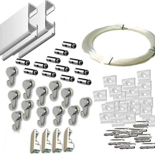 MARCS ARIAS SL Pack Basic RM de 6 Metros Guías de Aluminio (Blanco) con 12 colgadores Nylon para Colgar Cuadros (Blanco Mate)