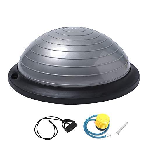 ISE Ø46 cm Balance Trainer Balance Ball Trainingshalbball mit Pumpe und 2 Zugbändern beidseitig nutzbar für Yoga Gymnastik,GS-geprüft (Grau)