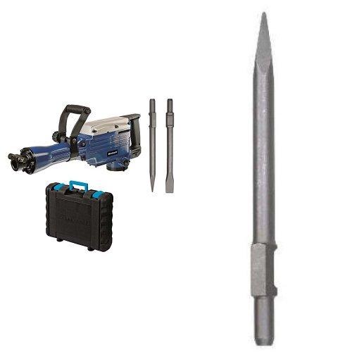 Einhell BT-DH 1600 - Martillo demoledor (1600 W, 230 V, 1500/min¯¹ impactos, potencia del impacto de 43 J, cable de 200 cm, mandril SDS-HEX, peso de 14,7 kg) color azul + Cincel hexagonal para martillo demoledor (30 mm)