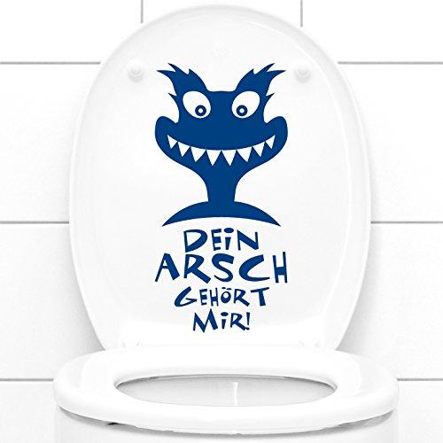 Wandtattoo-Günstig G121 WC Aufkleber Dein Arsch gehört Mir + Monster Wandtattoo Mittelgrau (BxH) 13 x 27 cm