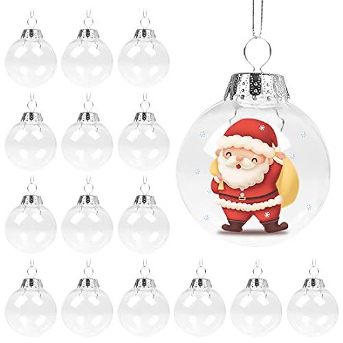 Aurasky Bolas Navidad Transparentes,16pcs Bolas Acrílicas Transparentes,Bola de Decoración Navideña,DIY Bolas Rellenables,Decoraciones de Navidad,Bolas de Navidad,para Fiestas Festivales Adornos