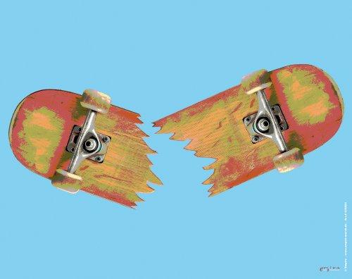 empireposter Mousepad Skateboard Broken Grösse 24x19 cm - EPDM-Kautschuk, fest, elastisch, abriebsicher, PVC-frei