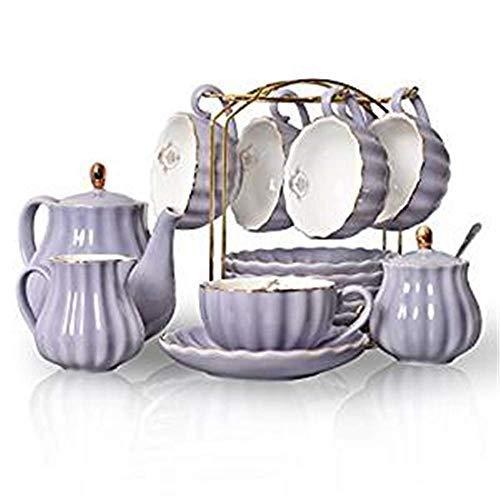 JY&WIN Home Royal Family - Juego de té de porcelana de 237 ml, tazas y platillos de boda y porcelana de cerámica, diseño en forma de calabaza con exquisito esmalte de colores