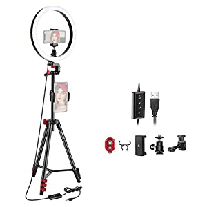 Neewer 10-inch LED Ring Light Selfie Ring Light with Tripod Stand, 3 Light Modes Dimmable Ringlight with 54inches Tripod and Phone Holder for Live Streaming/Makeup/YouTube Blogging Video Shooting