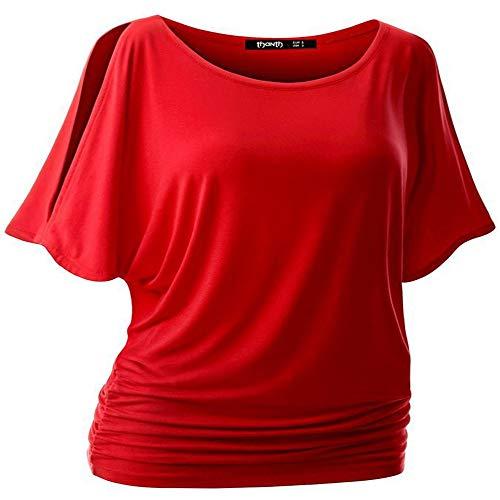 Gran tamaño de Cuello Redondo Suelto murciélago Manga Corta elástica Arrugada Camiseta Verano Ropa de Mujer
