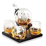 Whisiskey® - Mundo - Jarra decantadora (0,8 l, incluye 9 piedras de whisky, funda de regalo y 4 vasos …