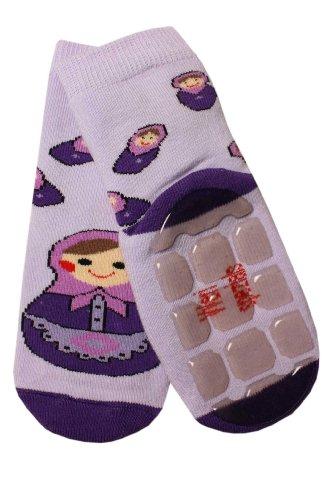 Weri Spezials Kinder Voll-ABS Socke Matrjoschka Motiv in Flieder Gr.31-34 (7-8 Jahre)