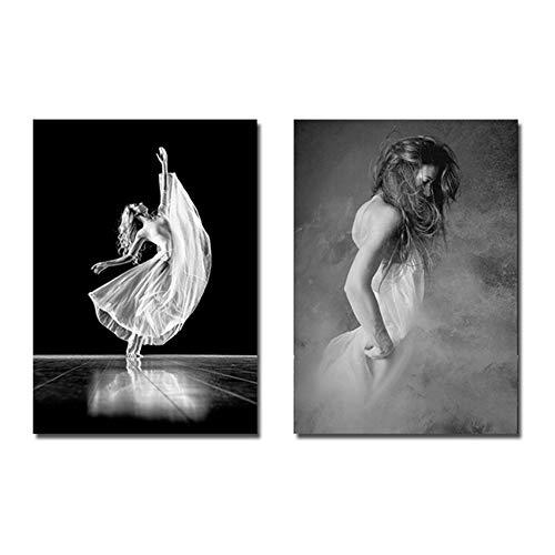 Bzdmly afbeelding op canvas, moderne afbeeldingen met druk op canvas, witte kunst, zwart, poster, ballerina's, slaapkamer, voor dames, modern 40x60 cm/15.7