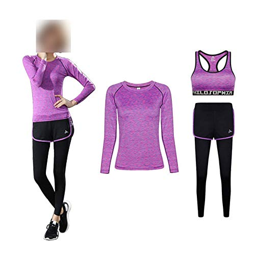 LIU Yoga Sport Clothing Suits Women's yoga 3-piece suit, soft, comfortable and quick-drying running jogging fitness exercise sportswear, short-sleeved/bra/long-sleeved/coat/pants, ladies sportswear su
