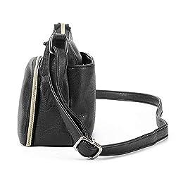 Brenice Multi Pockets Shoulder Bags Vintage Motorcycle Bag For Women (.45''x 3.15''x 6.30''(LxWxH), Black #01)