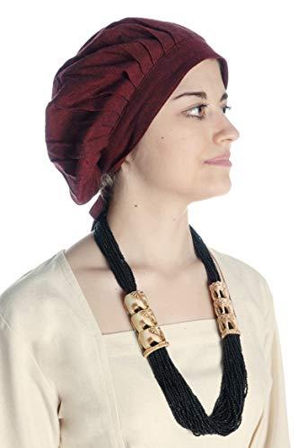 HEMAD Damen Mittelalter Haube Baumwolle rot