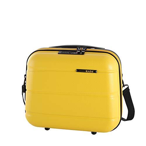 Rada ABS/13 Kosmetikkoffer Beautycase TSA-Schloss, Kulturbeutel - Hartschale, Waschtasche für Frauen und Herren, Wasserabweisend, mit Schultergurt, auf Trolley aufsteckbar (gelb)
