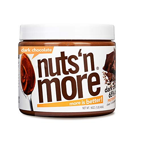 Nuts #039N More Dark Chocolate Peanut Butter Spread All Natural High Protein Nut Butter Healthy Snack Omega 3 and Antioxidants Low Carb Low Sugar GlutenFree NonGMO no preservatives16 oz Jar