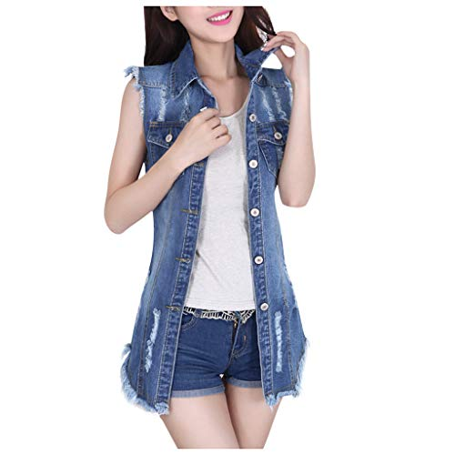 Wenini Women Sleeveless Denim Jacket Vest Coat Ladies Biker Casual Lapel Slim Coats Long Sleeve Denim Outercoat Jacket Windbreaker