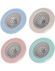 Walenbily Afvoerfilter voor de keuken, 4 stuks afvoerzeef, silicone, afvoerzeef, wastafel, spoelfilter, haarzeef, keukenspoelbak, zeef voor keuken/badkamer