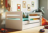 White Children's Bed Kids Bed Junior Children's Single Bed with Mattress and Storage included - Tommy