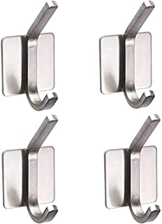 Stainless Steel Adhesive Wall Hooks for Hanging, Seft-Adhesive Robe/Coat/Hat/Towel/Key Hooks for Bathroom Kitchen Curtain ...