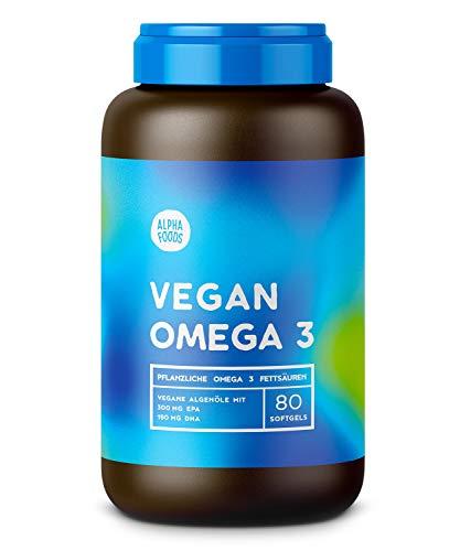 Vegan Omega 3 | 80 Gelkapseln | 1000mg Algenöl aus deutscher Markenherstellung pro Tagesdosis | Pflanzliche EPA und DHA Fettsäuren