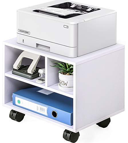FITUEYES Supporto per Stampante Legno Bianco con Ruote Scrivania Lato Mobile 3 Stoccaggi 40x30x35cm PS304005WW