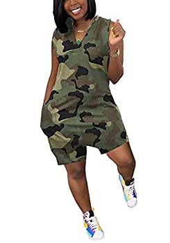 Vakkest Women Ladies Jumpsuit Camouflage Outfit Deep V neck Workout T Shirt Shorts Rompers with Pockets Loungewear