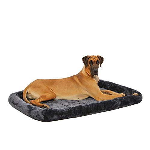 MidWest Homes for Pets 54L-Inch Gray Dog Bed or Cat Bed w/ Comfortable Bolster | Ideal for Giant Dog Breeds (Great Dane / Mastiff) & Fits a 54-Inch Dog Crate | Easy Maintenance Machine Wash & Dry | 1-Year Warranty, Charcoal Gray