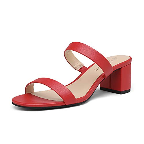 DREAM PAIRS Women's Dhs213 Two Strap Open Toe Low Block Chunky Heels Sandals Dress Pumps Shoes, Red Pu, Size 7.5
