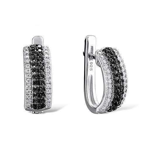 NOBRAND Pendientes de aro para mujer con piedras negras redondas de plata 925