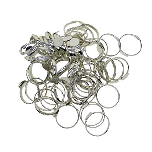 Sharplace 100 STK Ringrohling aus Messing, 8mm Verstellbare Ringschiene, Ringfassung, Silberfarbe