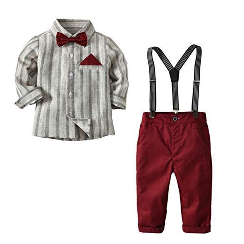 Transer Toddler Baby Kids Boys Bowtie Gentleman Stripe Shirt Plaid Top Strap Pantalon Ensemble (2-3 Ans, Gris)