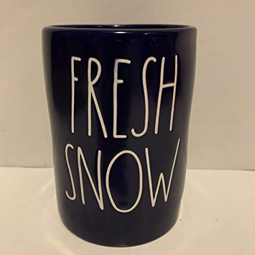 Rae Dunn FRESH SNOW Candle Navy Blue Ceramic - Richly scented candle - FROSTED SPRUCE - 13.2 oz - 374 gr