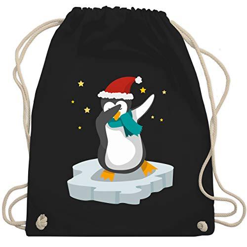 Weihnachten & Silvester - Dab Pinguin Weihnachten - Unisize - Schwarz - pinguin weihnachten - WM110 - Turnbeutel und Stoffbeutel aus Baumwolle
