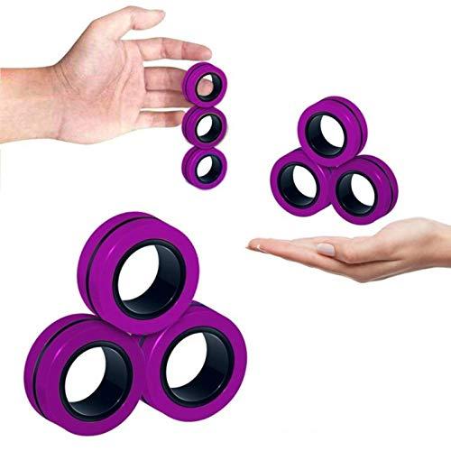 ADAFA Zappelspielzeug mit magnetischen Ringen, 3er-Pack, perfekte magnetische Zappelringe, ideales ADHS-Zappelspielzeug, großartiges Zappelspielzeug für Angst-Teenager-D
