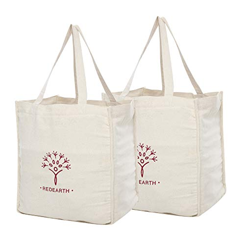 REDEARTH Reusable Heavy Duty Canvas Grocery Shopping Bag -Pre Shrunk 100 Natural Cotton Eco Friendly Extra Large Foldable Tote With Handles and Bottle Sleeve Compartment 15x13x8 Natural Set of 2