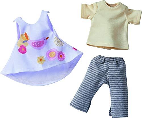 HABA 305576 - Kleiderset Frühlingszeit, Set aus Kleid, Hose und T-Shirt, Puppenzubehör für alle 32 cm großen HABA-Puppen, Spielzeug ab 18 Monaten