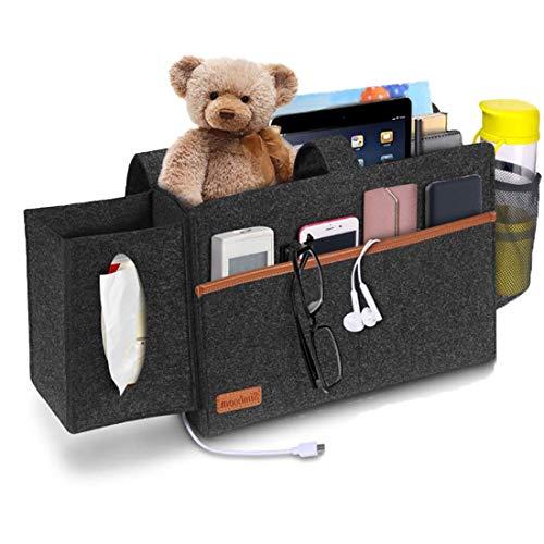 Bolsa de almacenamiento de cabecera, bolsa de almacenamiento de fieltro de cabecera para sofá, con caja de pañuelos y soporte para botella de agua, adecuada para cama, sofá, mesa, etc. (Gris oscuro)