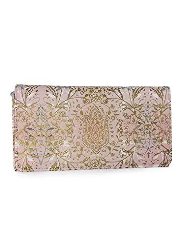 Papaya: Tri Fold Wallet, Clutch Checkbook Wallet for Women, Artistically Designed Ladies Wallet (Lotus Garden)