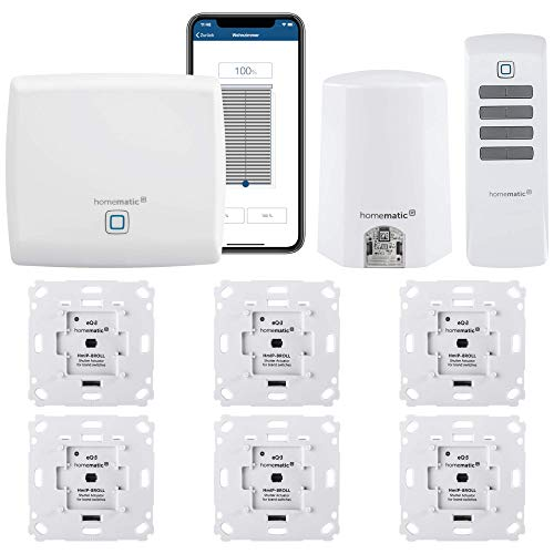 Homematic IP Funk Rolladensteuerung mit Lichtsensor und App Steuerung. Inhalt: Zentrale, 6 Rollladenaktoren, 1 Lichtsensor Außenbereich, 1 Fernbedienung, Adapter.