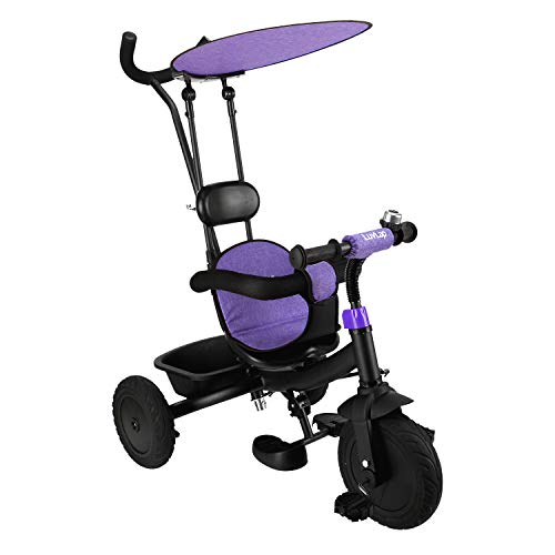 Luvlap - 18832 Grand Kids Tricycle with Push Handle, Rubber Wheels, Detachable Canopy, 1.5 to 5 years, Carrying Capacity up to 25 Kgs (Purple)