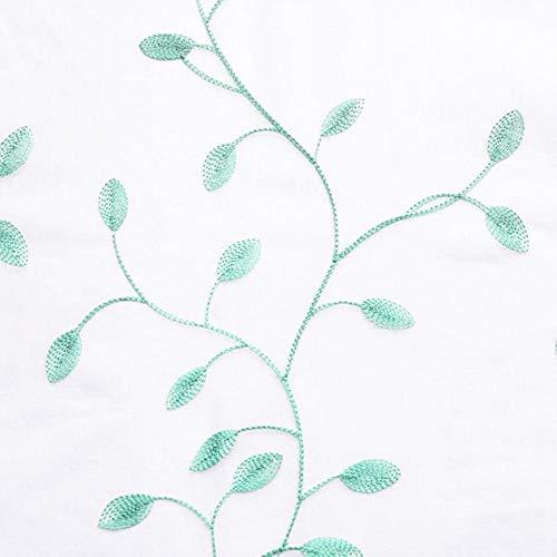 PENVEAT Besticktes Blatt Blume Tüll Vorhang für Fenster Vorhänge für Wohnzimmer Moderne Fenster Gaze Vorhänge für Schlafzimmer, blau grün, W150xL250 1 Stück, 2. Grommet TOP