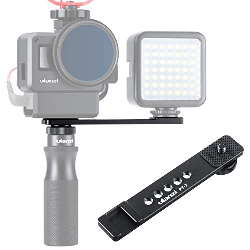 ULANZI PT-7 Cold Shoe Bracket Adjustable Microphone Extension Bar Plate for Mic LED Video Light w 1/4'' Screw for iPhone Samsung Smartphone Sony Canon Cameras Gopro 8 7 6 Vlogging Setup Accessories