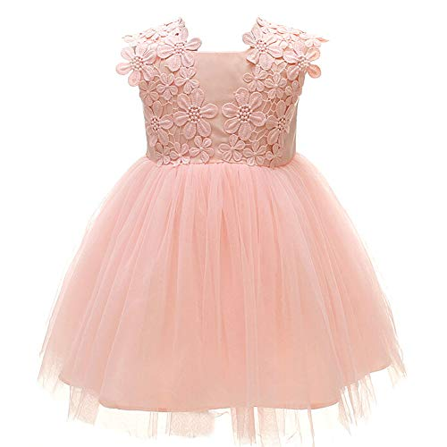 Monimo Baby Mädchen Prinzessin Kleid Taufkleid Festlich Kleid Hochzeit Partykleid Festzug Babybekleidung,Rosa,6-12 Monate