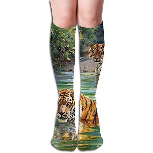 YuanHu Tube Haut Chaussettes Keen Crew Chaussettes Jungle Tiger Compression Longs Bas de Sport pour Hommes Femmes