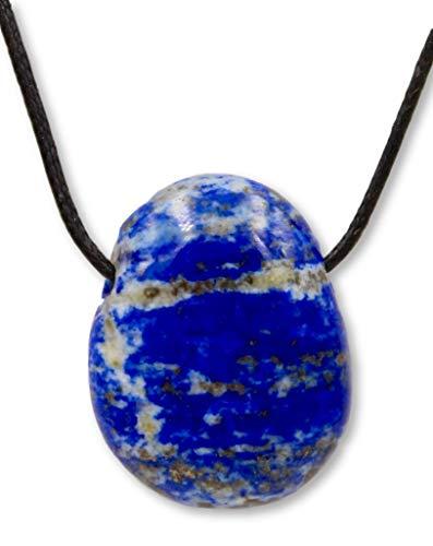 Taddart Minerals – blauwe trommelsteen hanger van natuurlijke edelsteen lapis lazuli met leren ketting