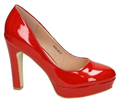 Klassische Damen Lack Pumps Stilettos High Heels Plateau Abend Schuhe Bequem 22 (38, Rot)