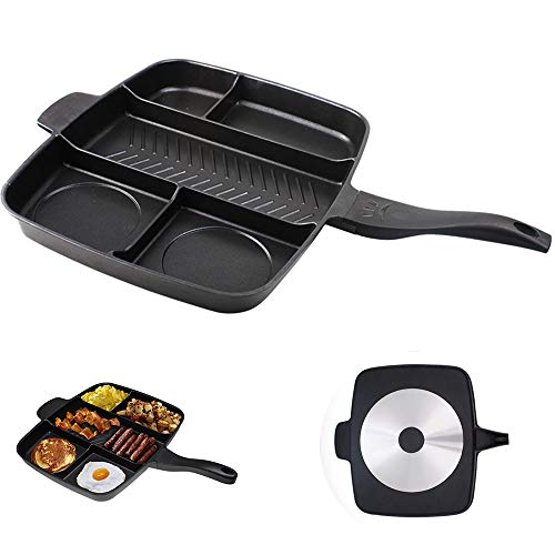zxz Divided Frying Pan, 5-in-one Grill Fry Saute Pans Skillet, Heavy Cast Aluminum Strip Texture Uniform Heating Nonstick Coating, for Kitchen Breakfast
