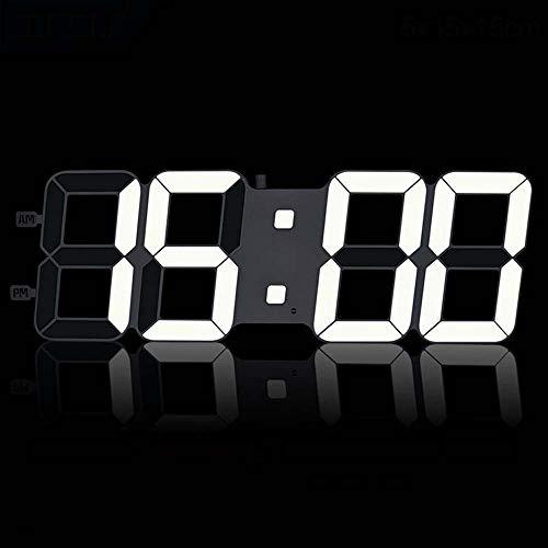 HY Decoración De La Pared Blanca Reloj De Pared De Silencio Estéreo De 16 Pulgadas De Plástico Moderno Minimalista Reloj Electrónico Digital De 3D LED