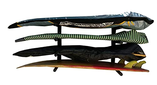 Rackinrio Rack Soporte Estantería 4 tablas de Surf Skate Longboard Snowboard Ski en pared Negro