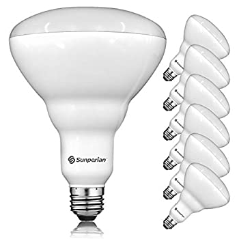 Sunperian 6 Pack BR40 LED Light Bulbs 13W=85W 3500K Natural White 1400 Lumens Dimmable Flood Light Bulbs for Recessed Cans Enclosed Fixture Rated Damp Rated UL Listed E26 Standard Base